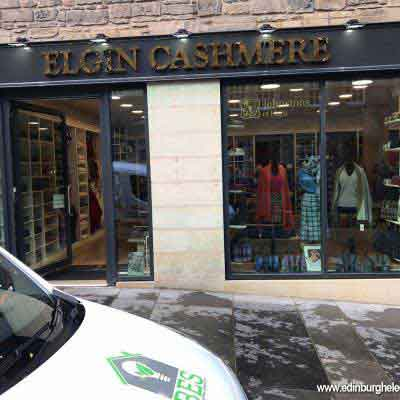 Exterior of the shop at Elgin Cashmere Edinburgh
