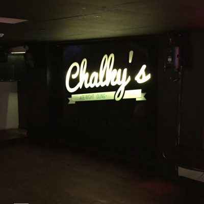 Chalkys nightclub advertising sign