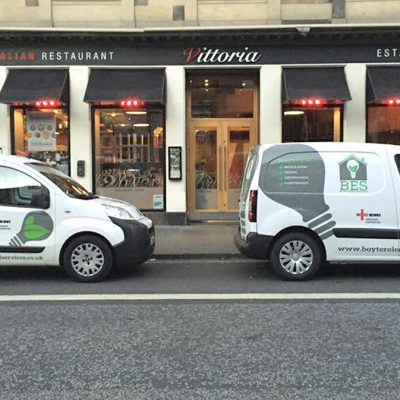 Vans outside Vittoria Restaurant